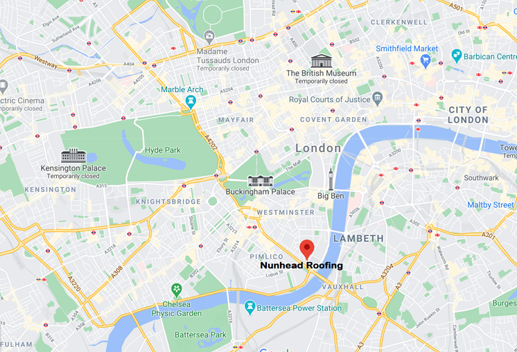 Nunhead Roofing on Map of Central London