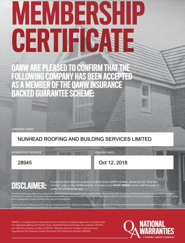 Quality Assured National Warranty Certificate